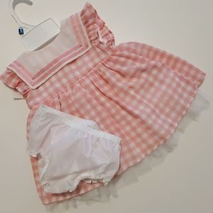 6-9 mo Baby Girl Pink/White Gingham Easter Dress